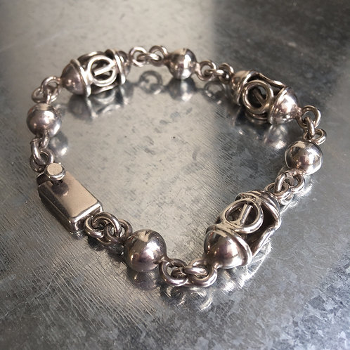 Mexican Silver Filigree Bead Bracelet