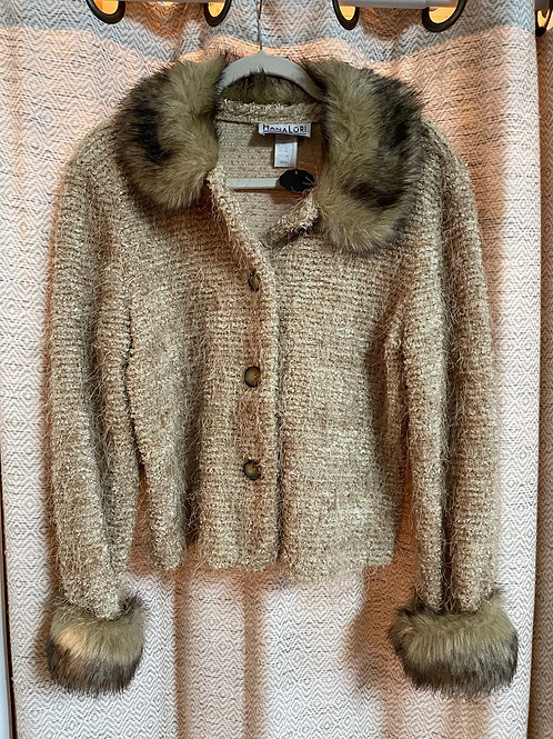 Hana Lori Gold Sweater + Faux Fur Collar & Cuffs