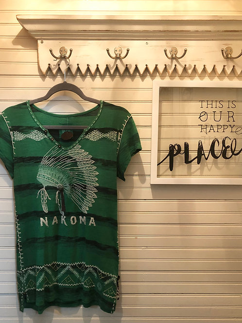 Double D Ranch: Green Embroidered Top