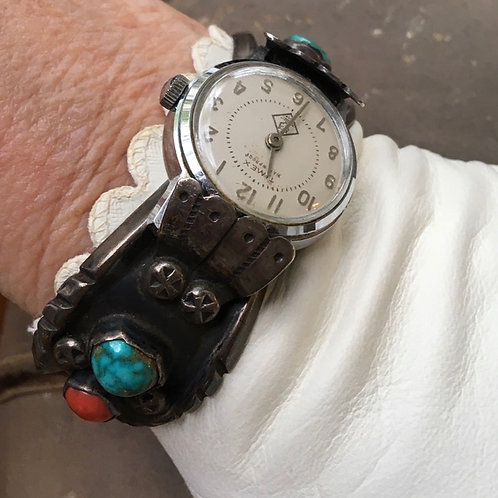 Vintage Watch Band Bracelet: Turquoise + Coral