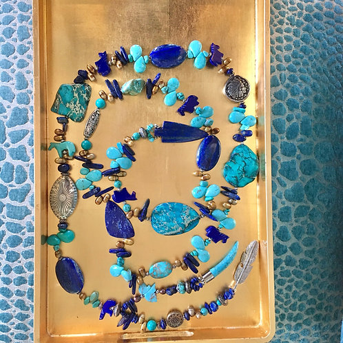 Dyanne Silver Design Lariat Necklace