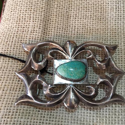 Vintage Silver + Turquoise Belt Buckle