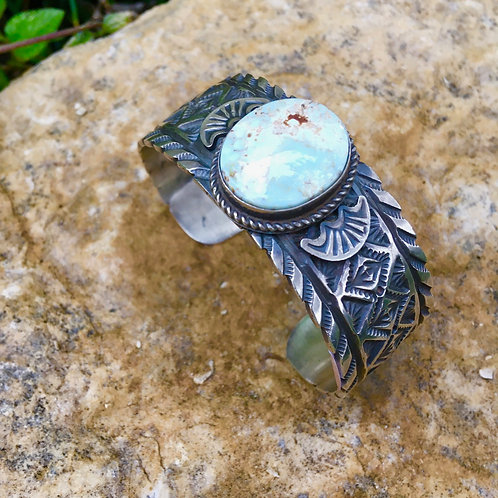 Navajo Sterling + Tuquoise Stamped Cuff Bracelet