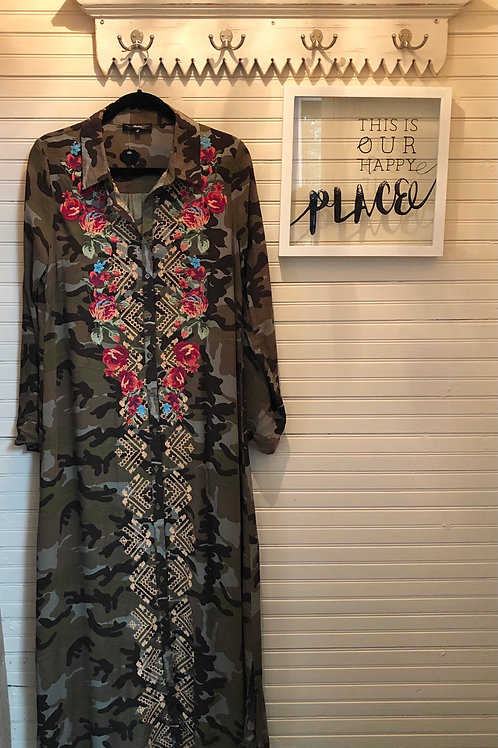 Andree: Silk Camo Embroidered Dress