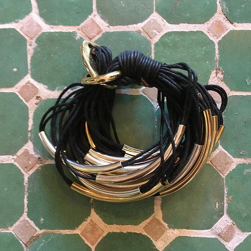 Gillian Julius Black Cord+Gold Wrap Bracelet