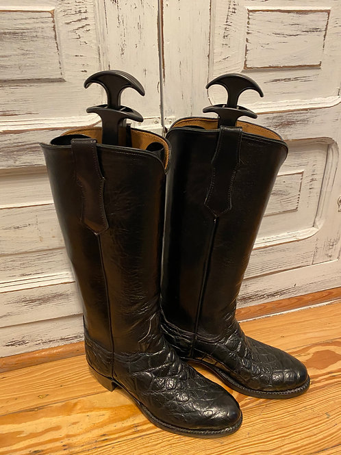 Black Crocodile Leather Cowboy Boots