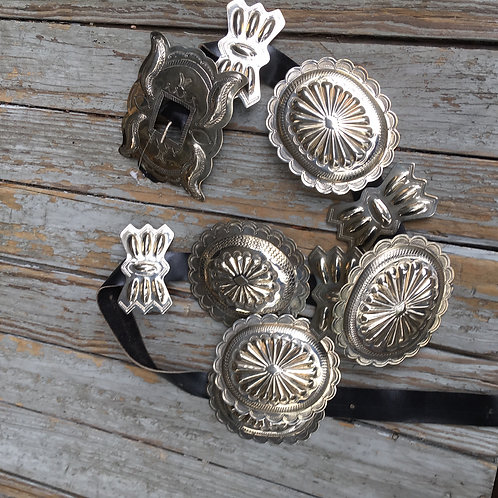 Sterling Silver+Leather Concho Belt