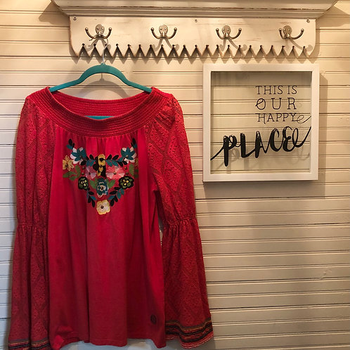 Double D Ranch: Red Floral Embroidered Top