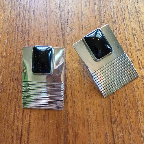 Onyx +Sterling Earrings