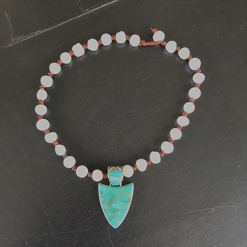 Pearl Knotted Leather + Turquoise Pendant Necklace