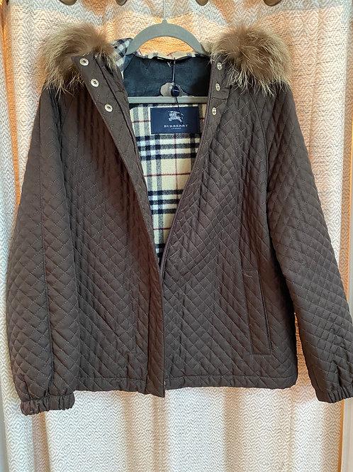 Burberry Brown Jacket+Fox Fur Hoodie