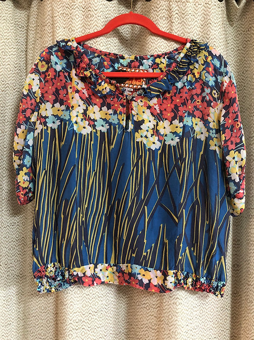 Johnny Was Floral+Striped Silk Blouse