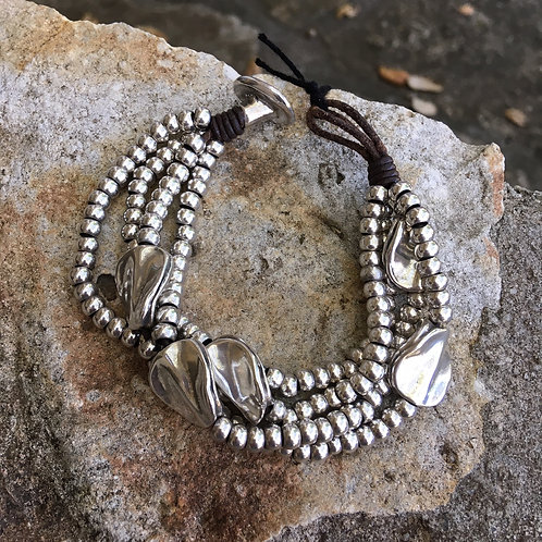 Uno de50 Silver-Plated Multi-Bead Bracelet