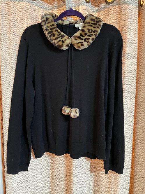 Kate Spade Black Sweater+Leopard Print Accents