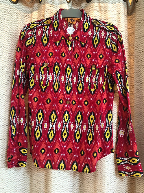 Tory Burch Red + Yellow + Black Blouse
