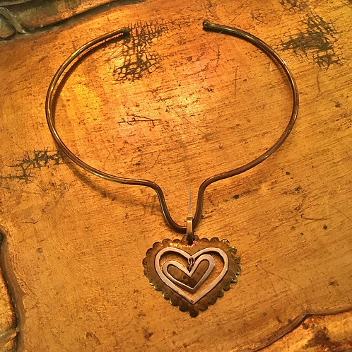 Jeep Collins Brass & Sterling Silver Double Heart Pendant on Collar
