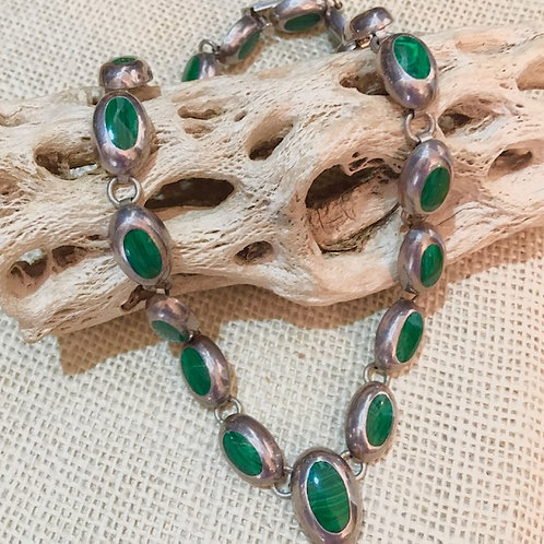 Vintage Mexican Silver+Malachite Stone Necklace