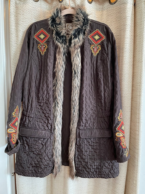 Double D Chocolate Brown Embroidered Jacket