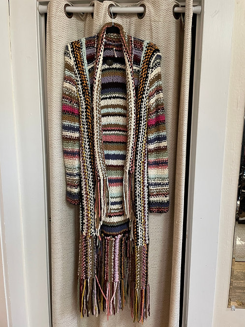 Free People Multi-Color Striped Heavy Sweater