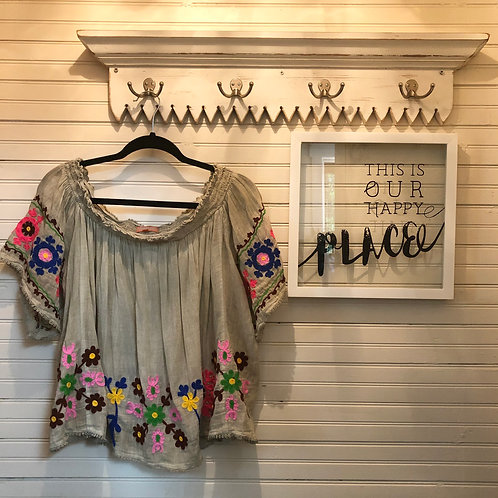 Saffire: Sheer Taupe Embroidered Top
