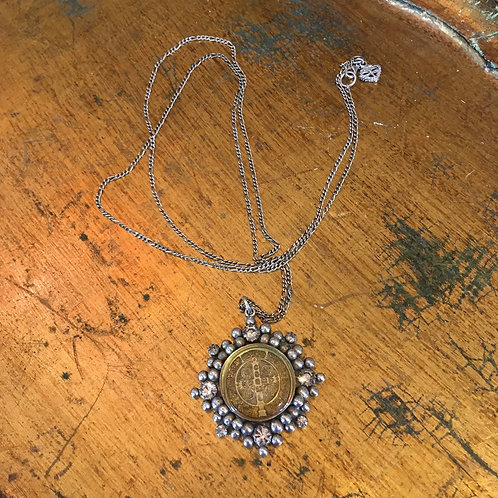 """Virgins, Saints and Angels """"San Benito"""" Medallion Necklace"""