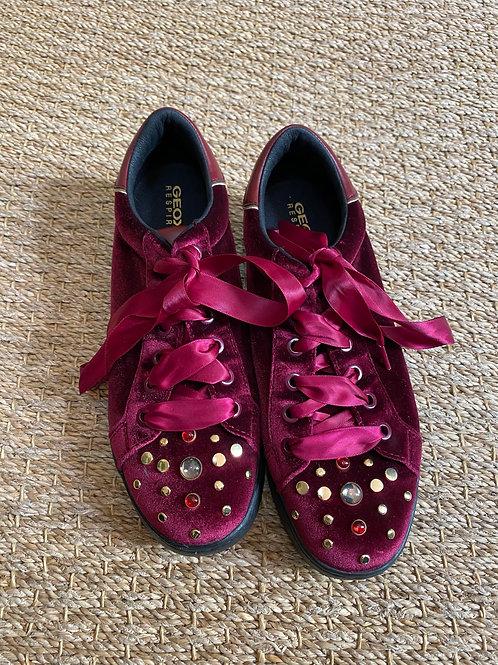Geox Respira Burgundy Velvet Shoe
