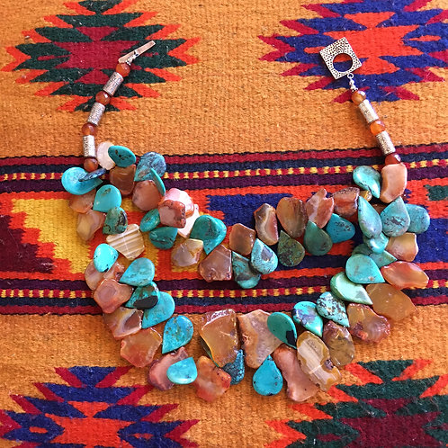 Turquoise+Agate Double Strand Necklace