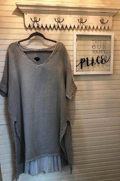 Sosia: Grey-Steel Viscose Dress