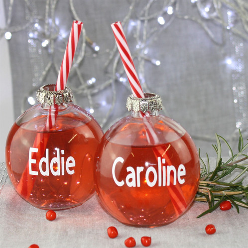 couples christmas drinking glass baubles - Christmas Drinking Glasses