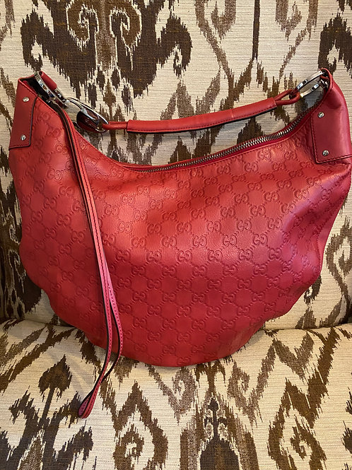 "Gucci Red ""Hobo"" Leather Purse"