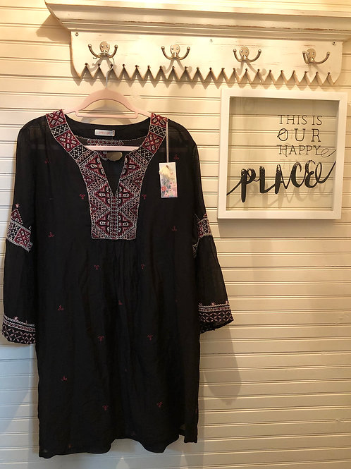 Johnny Was: Black Embroidered Cotton Tunic