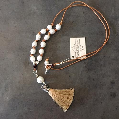 CASA: Pewter Bead & Tassel Necklace