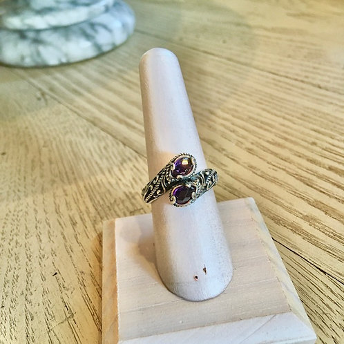 Carolyn Pollack Double Amethyst Stone Ring