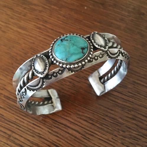 Stamped Turquoise Sterling Bracelet by artist Joe Eby