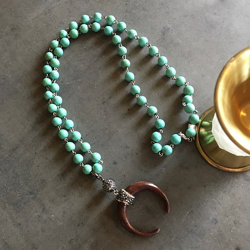 Wooden Horn + Turquoise-color Beaded Necklace