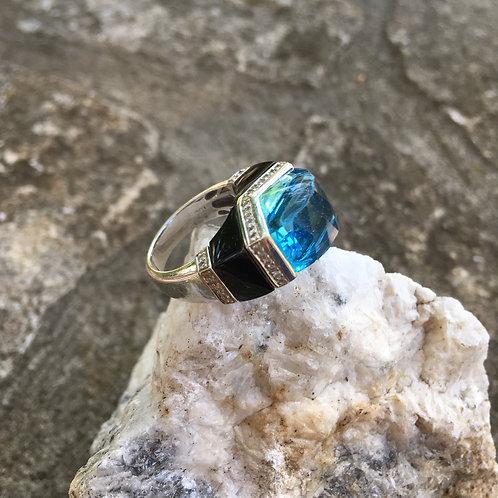 Blue Topaz +Onyx + Diamond Cocktail Ring