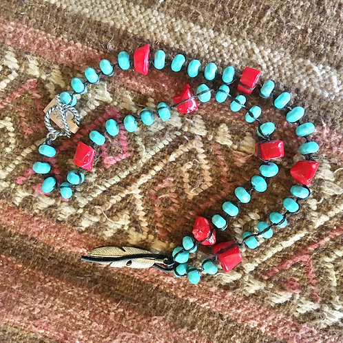 Turquoise + Coral-Color Stones Necklace