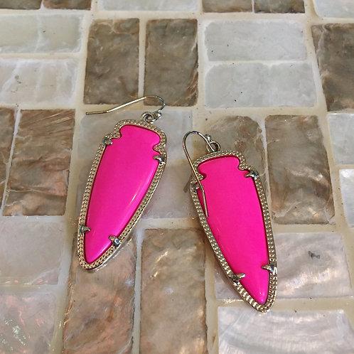 Kendra Scott Hot Pink Arrowhead Earrings