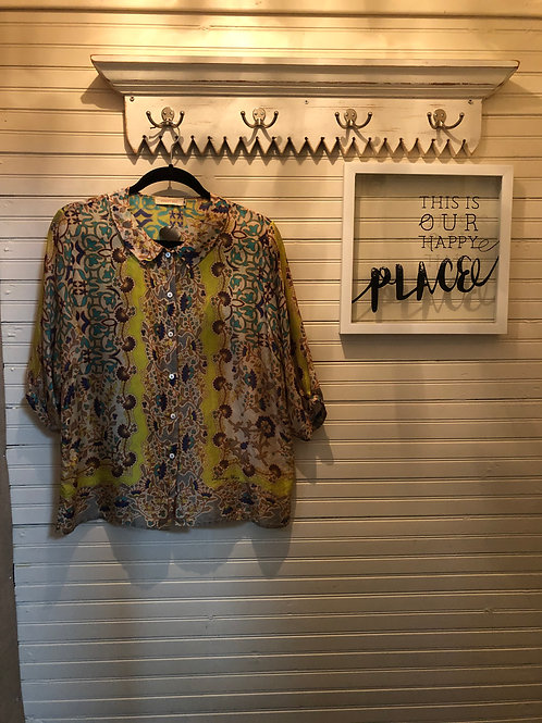 Johnny Was: Multi-color Silk Blouse