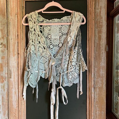 Magnolia Pearl Sage Green Rare Crochet Vest