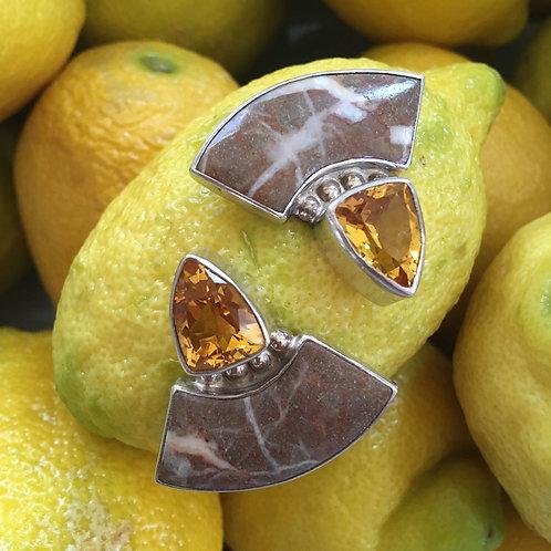 Stone + Topaz in Silver Setting Earrings