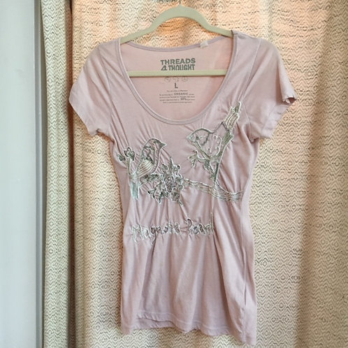 Magnolia Pearl Dusty Rose Embroidered Birds Tee
