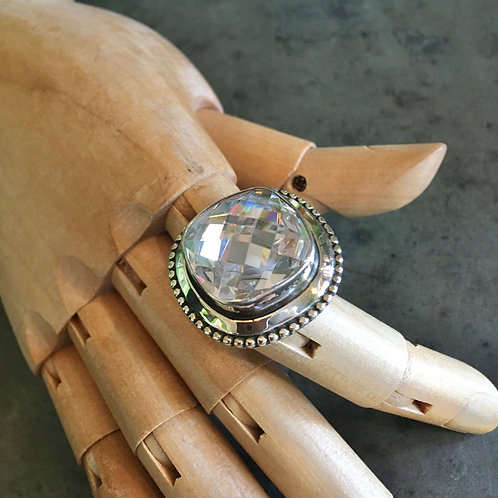 Crystal+Sterling Ring