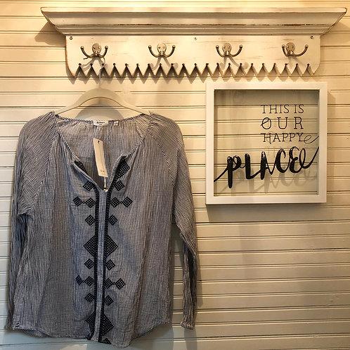 Dylan:Nancy Indigo Striped Sheer Cotton Top