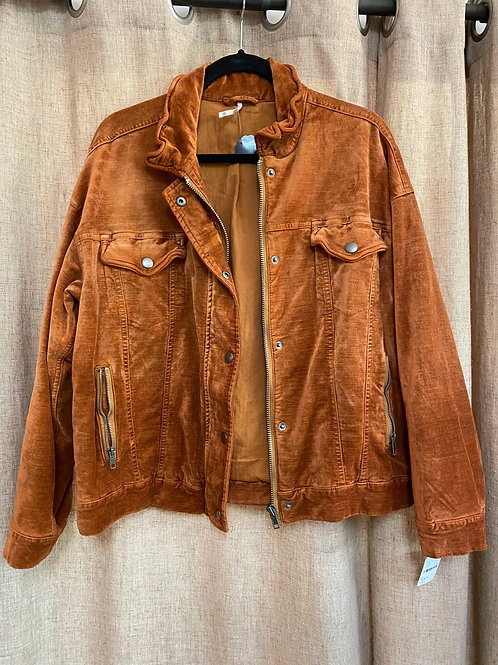Free People Pumpkin Velvet Jacket