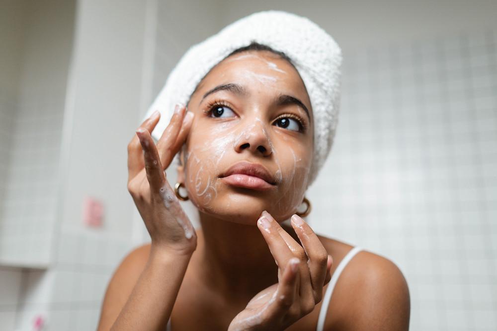 Woman, washing, cleansing face, facewash, skincare