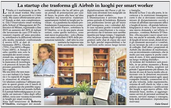 La startup che trasforma gli airbnb in luoghi per smart worker