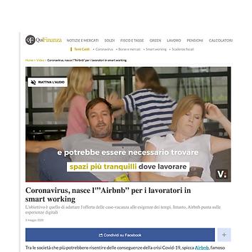 "Coronavirus, nasce l'""Airbnb"" per i lavoratori in smart working"