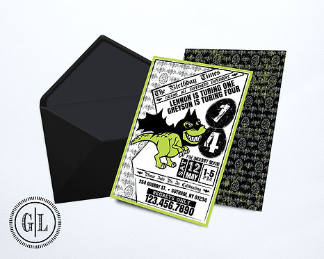 Dinosaur Batman Invitation