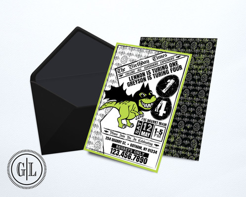 Dinosaur batman invitation birthday invitations boy girl dino stopboris Images